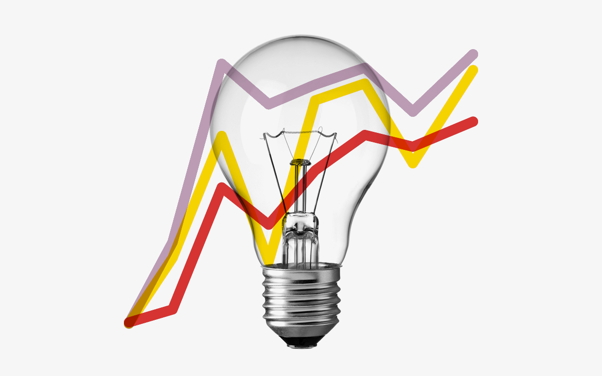 Data science line graph light lightbulb