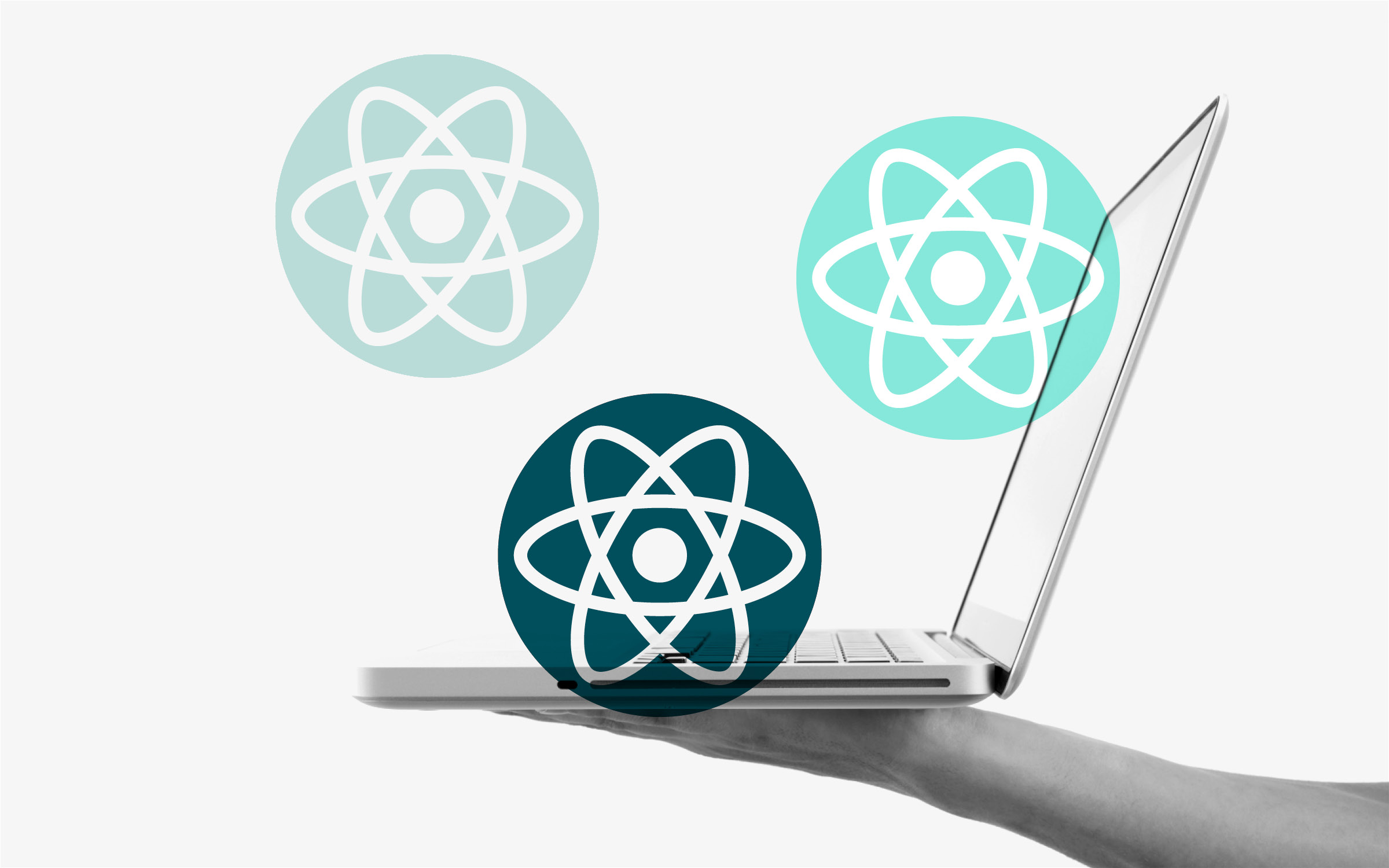 Code react bubbles laptop hand