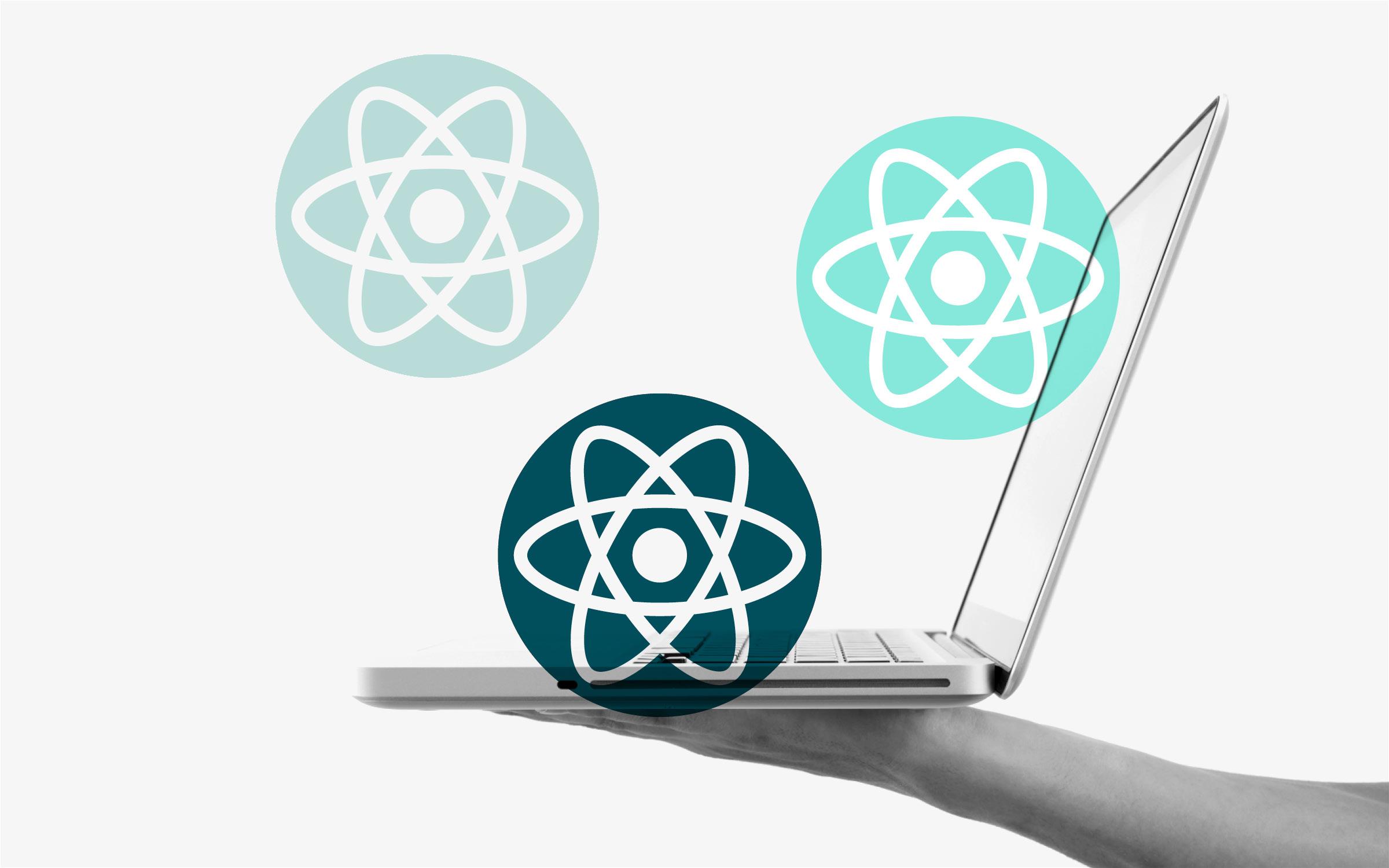 Code react bubbles laptop hand